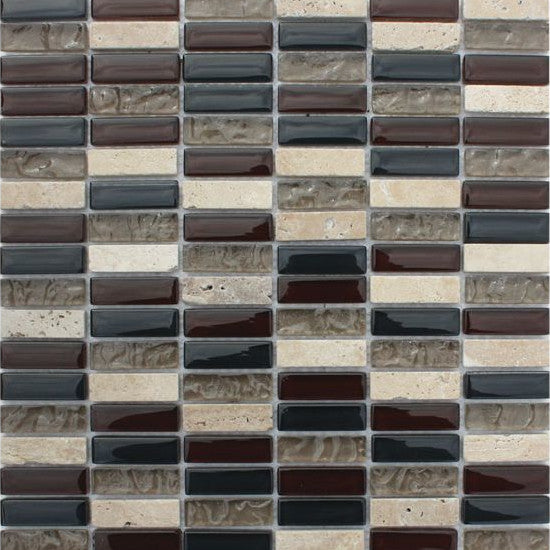 Pacific Mosaic Tiles - Sepia Brown (rectangles) - 29.5cm x 29.5cm