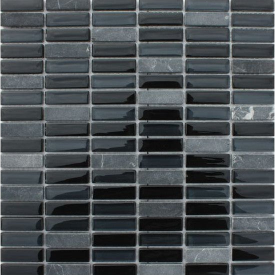 Pacific Mosaic Tiles - Coal Mine (rectangles) - 29.5cm x 29.5cm