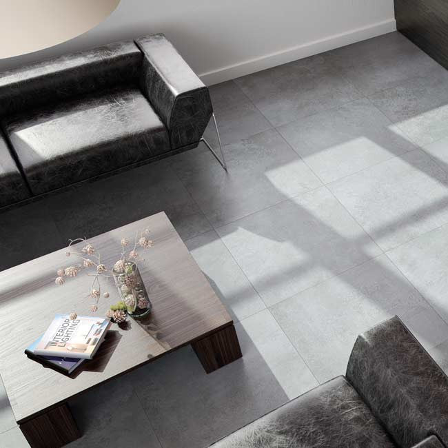£47.67 /sqm - Extend Grey - Indoor Brushed Concrete Effect Tiles - 60cm x 60cm