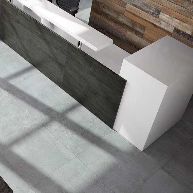 £47.67 /sqm - Extend Rust - Indoor Brushed Concrete Effect Tiles - 60cm x 60cm