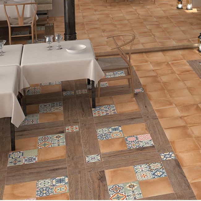 Rustic Heritage - Plain (33.15cm x 33.15cm) & Patterned Décor Tiles (16.5cm x 16.5cm)