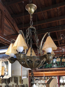 """Lincoln"" Tudor Style 5-Light Chandelier with Glass Smoke Shades [MAR19-46]"