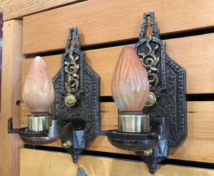 High Style Spanish/Deco Sconces - Two (2) Pair Available [may19-9]