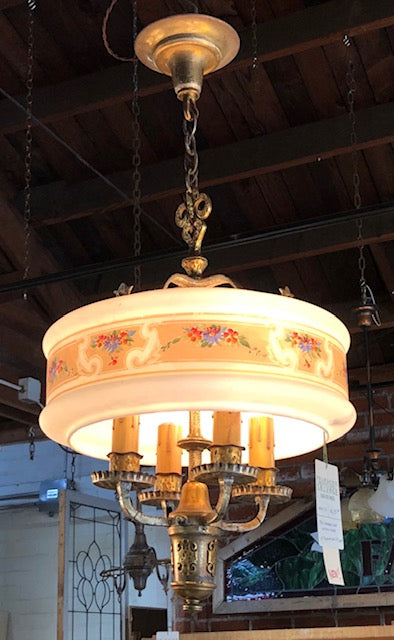 Storybook Chandelier with Stenciled Ring Shade [may19-20]