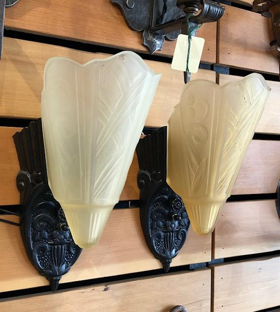 Spanish/Deco Slip Shade Sconces - Pair [MAY19-43}