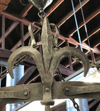 Spanish/Tudor Revival Wrought Iron Chandelier [aug19-64]