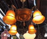 Colonial Revival Pan Fixture w/Original Glass Shades  [SEP19-45]