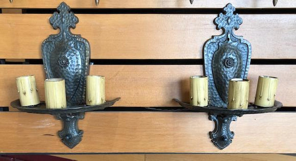 Hammered Finish Spanish/Tudor Revival Triple Sconces-Pair [nov19-59]