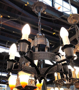 Spanish/Tudor Revival Hammered Finish Chandelier [PRNOV19-49]