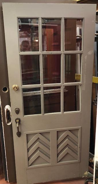 9 Light Entry Door w/Original Deco Hardware [NW19-6]