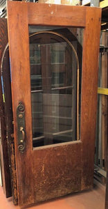 Oak & Fir Entry Door w/Beveled Glass & Original Hardware [OCT18-52]
