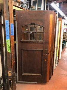 *SOLD*6 Light Mahogany Entry Door w/Beveled Glass & Drip Ledge [PRKS-83]
