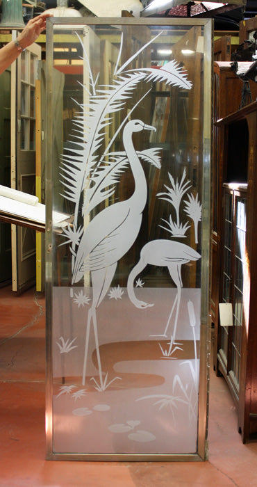 Deco Etched Glass Tropical Birds Shower Door [AUG12-64]