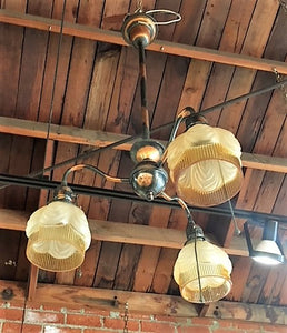 3 Light Chandelier with Copper Japanned Finish & Drapery Shades [AUG18-11]