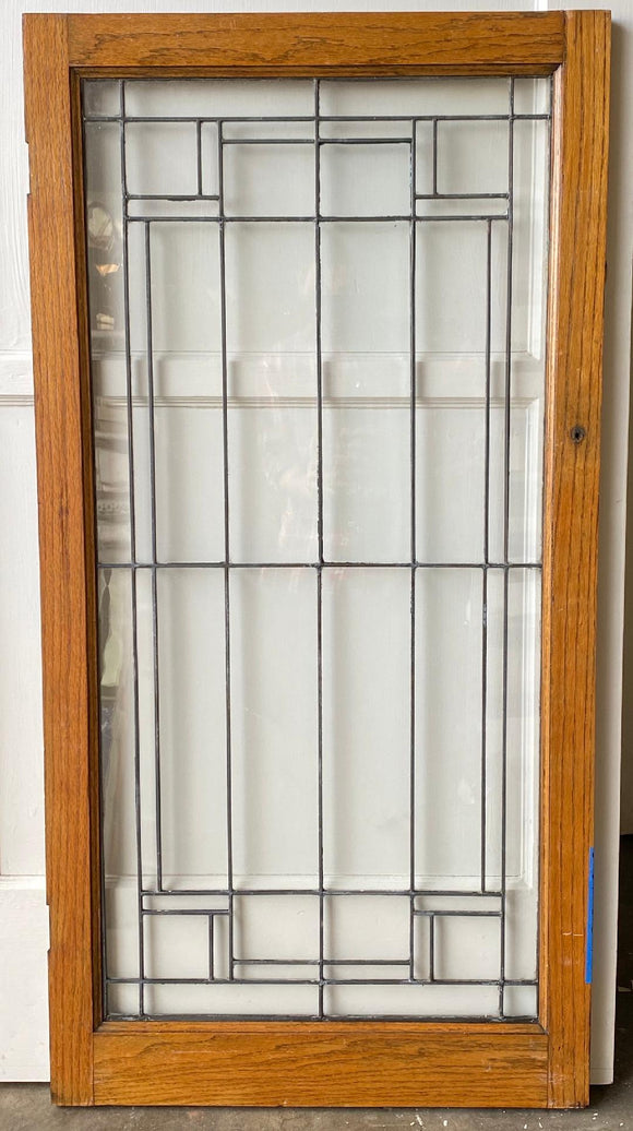 Pair of Oak Frame Leaded-Glass Cabinet Doors (SG-34)