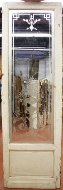 Large Victorian French Door with Etched Glass (jp15-66)