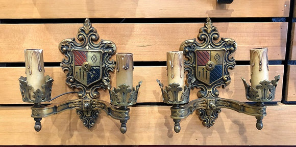 Spanish/Tudor Revival Sconces - Pair [SEP18-9]