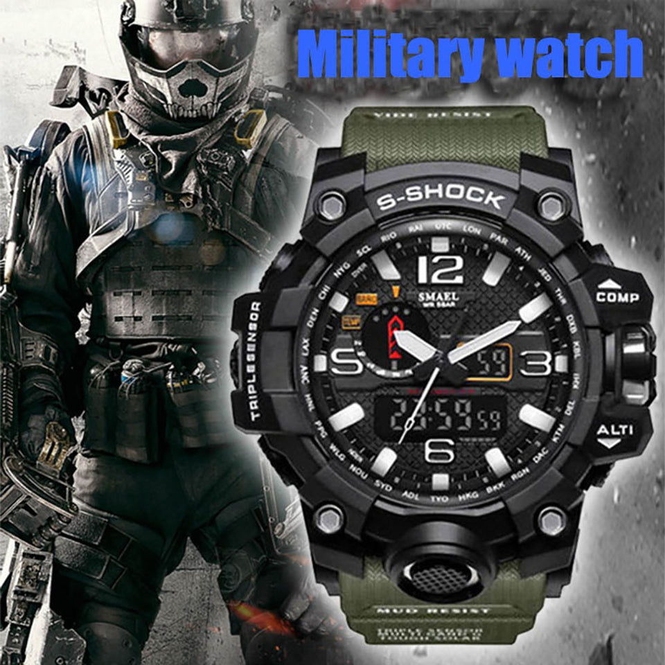 SMAEL Brand Sport Watch Men's Fashion Analog Quartz LED Digital Electronic Watch Men Multifunctional Waterproof Military Watches