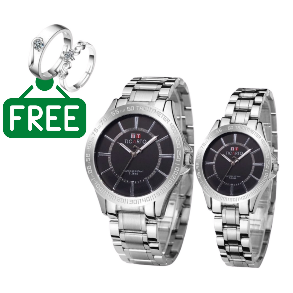 Ticarto Black Couple plus Free Couple Ring.