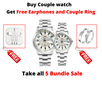 Ticarto T-2649G Stainless Couple Watch Free Earphones and Couple ring