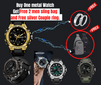 Sanda Metal watch with Free TWO sling bag and Couple ring