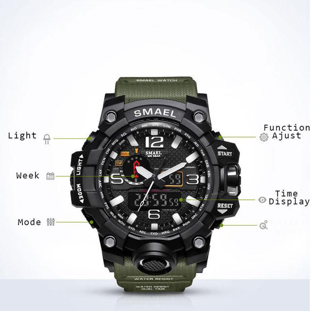 ad2c0d2ec ... SMAEL Brand Sport Watch Men's Fashion Analog Quartz LED Digital  Electronic Watch Men Multifunctional Waterproof Military ...