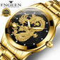 FNGEEN 3D engraving Golden Dragon Quartz Watch  ⭐⭐⭐⭐⭐