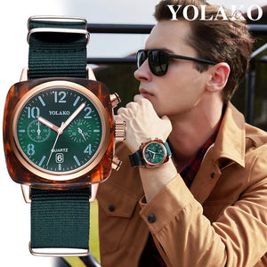 YOLAKO Men Casual Quartz Watch Square Dial Wrist Watches with Nylon Canvas Strap for Business Travel
