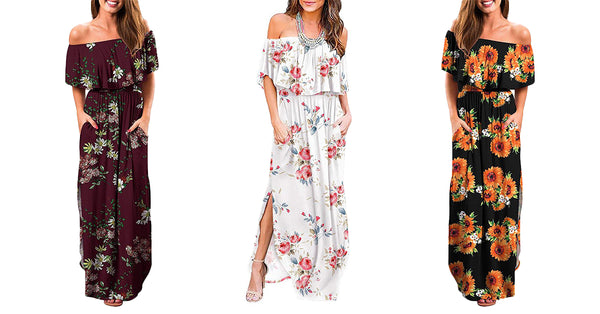 Off Shoulder Ruffle Beach Maxi Dress