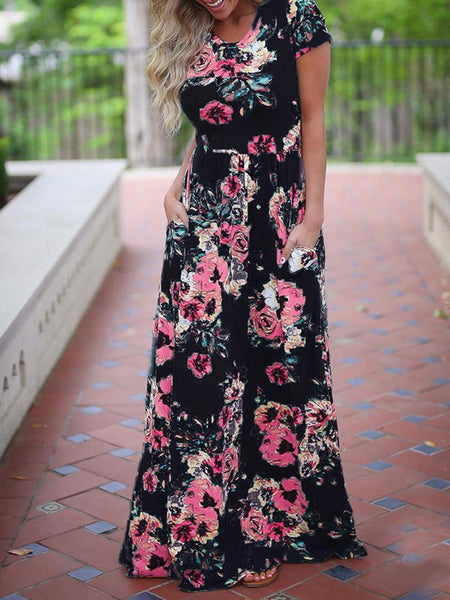 4.Floral Printed Maxi Dress with Pockets