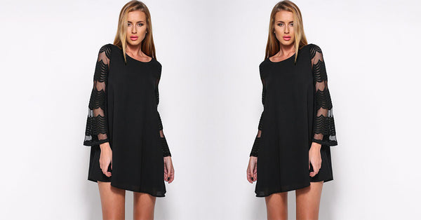 Hollow Mesh Patchwork Mini Dress