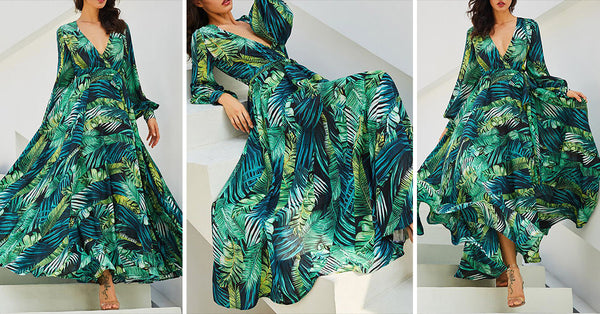 Lantern Sleeve Tropical Leaf Print Dress