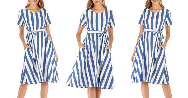 Striped Casual Flowy Midi Dress