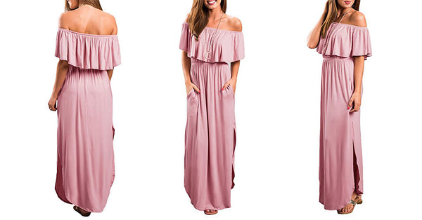 Off Shoulder Ruffle Maxi Dress