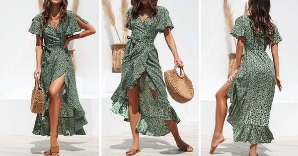 Boho Wrap Floral Belted Summer Dress
