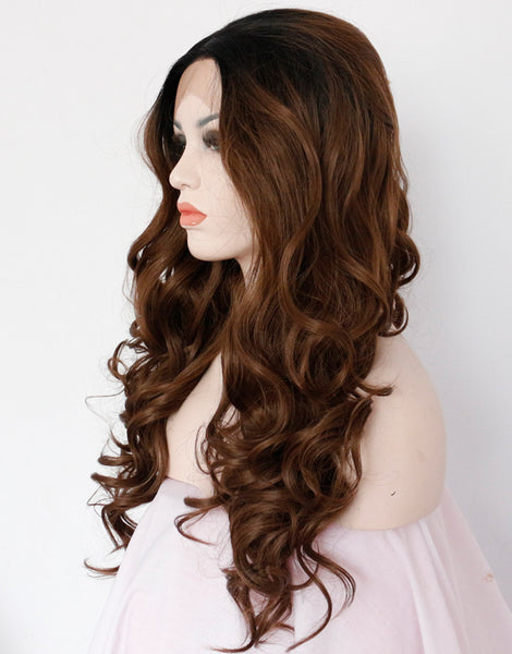 brown-ombre-synthetic-wavy-lace-front-wigs