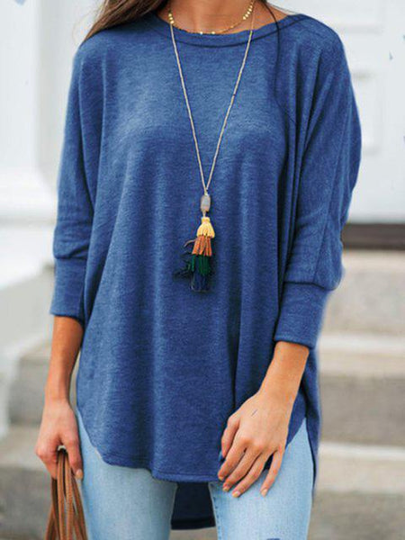 Crew Neckline Solid Basic Casual Tunic