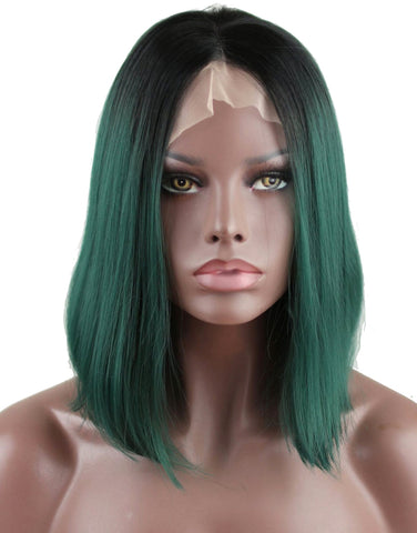 green-ombre-synthetic-lace-front-bob-wigs