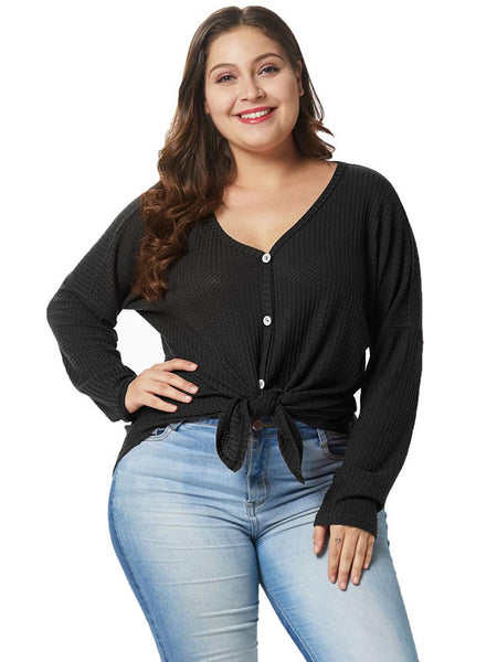 Knit Tie Knot Plus Size Tops