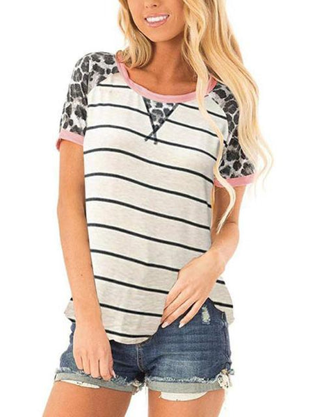 Leopard Print Short Sleeve Striped T-shirt