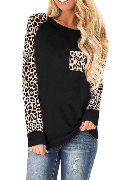 Leopard Print Stitching T-shirt with Pocket