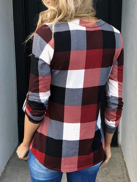Plaid Tunic V Neck Casual Tops
