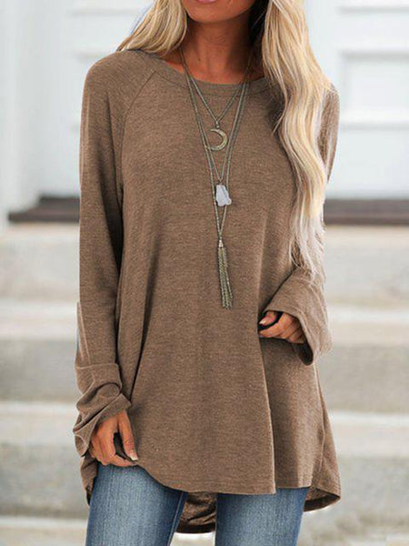 Solid Long Sleeve Casual Basic Blouse