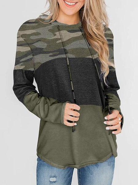 Striped Color Block Drawstring Casual Sweatshirt Hoodie