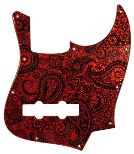 Fender Jazz Bass Pickguard Red Sparkle Paisley
