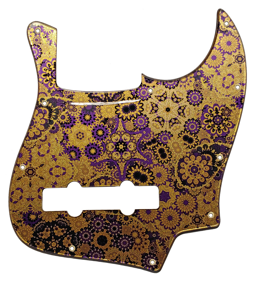 Bass Mods K534 Pickguard Purple Floral Gold Metallic