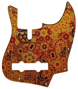 Bass Mods K534 Pickguard Red Floral Gold Metallic