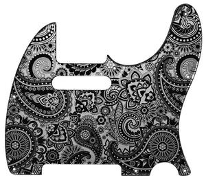 Fender Telecaster Pickguard Silver Paisley