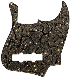 Fender Jazz Bass Pickguard Black Crackle Gold Sparkle