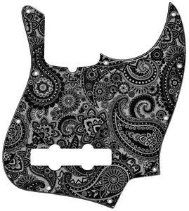Fender Jazz Bass Pickguard Black Silver Paisley
